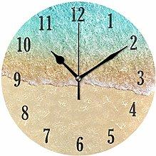 Mnsruu Wall Clock Round Turquoise Ocean Beach