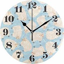 Mnsruu Wall Clock Silent Non Ticking, Round Cute