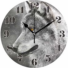 Mnsruu Wall Clock Silent Non Ticking, Round Grey