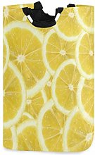 Mnsruu Yellow Lemon Texture Laundry Basket Hamper
