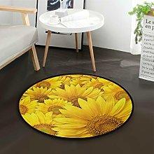 Mnsruu Yellow Sunflower Round Area Rug for Living