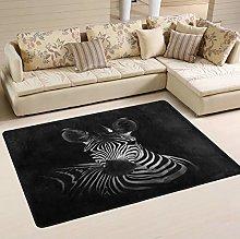 Mnsruu Zebra Black Area Rug Rugs for Living Room