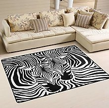 Mnsruu Zebra Print Striped Black White Area Rug