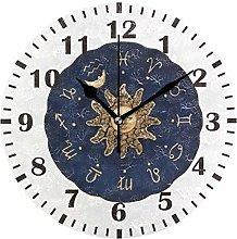 Mnsruu Zodiac Gold Sun Wall Clock for Bedroom