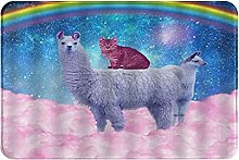 MOBEITI Anti-Slip Soft Flannel Carpet,Kitty Cat On
