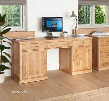Mobel Solid Oak Large Hidden Office Twin Pedestal