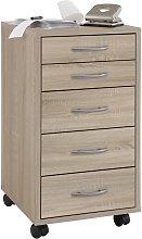 Mobile 5 Drawer Cabinet Oak - Beige - FMD