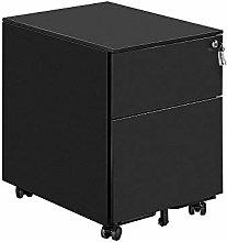 Mobile Black 2 Drawers File Storage Cabinet