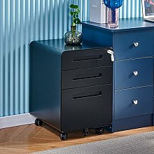 Mobile Black 3 Drawers File Storage Cabinet