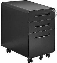 Mobile Black File Cabinet Under Desk Pedestal