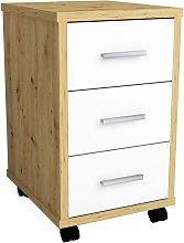 Mobile Drawer Cabinet Artisan Oak Brilliant White
