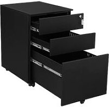 Mobile File Cabinet with 3 Drawers Lockable Steel