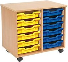 Mobile Tray Storage Unit With 12 Shallow Gratnells