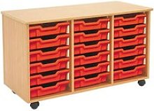 Mobile Tray Storage Unit With 18 Shallow Gratnells