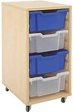 Mobile Tray Storage Unit With 4 Deep Gratnells
