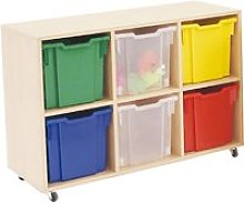Mobile Tray Storage Unit With 6 Free Clear Jumbo