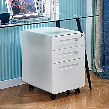 Mobile White File Unit Storage Cabinet Metal with