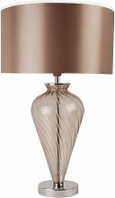 Mocha Glass Table Lamp with Fabric Shade