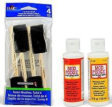 Mod Podge Basic Decoupage Starter Kit with 6 Items - Gloss and Matte Medium with 4 Foam Brushes (Black Foam Brushes)