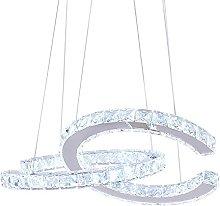 Modern 2 C Rings Crystal Chandelier Lighting LED