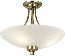 Modern 3 Light Antique Brass and Glass Semi Flush