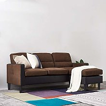 Modern 3 Seater Sofa Faux Leather and Fabric