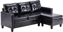 Modern 3 Seater Sofa Faux Leather L Shaped Group