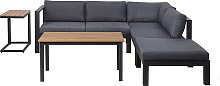 Modern 4 Piece Outdoor Corner Sofa with Table and