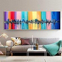 Modern Abstract Long Canvas Painting print Rainbow