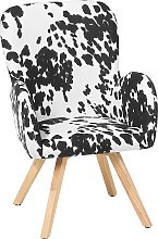 Modern Accent Chair Wooden Legs Black and White