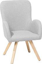 Modern Accent Chair Wooden Legs Gray Upholstery