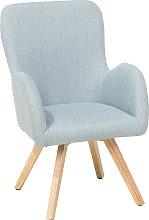 Modern Accent Chair Wooden Legs Light Blue