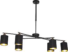 Modern Adjustable Pendant Lamp 6 Black - Lofty