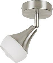 Modern Adjustable Wall Light White Glass Silver