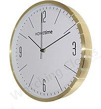 Modern Aluminium Gold Coloured Hometime Wall Clock