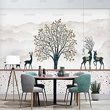 Modern and Simple Marbling Wallpaper Mosaic Tree
