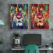 Modern Animal Graffiti Art Lions Canvas Painting