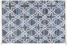 Modern Area Rug Denim Cotton Blue Quatrefoil