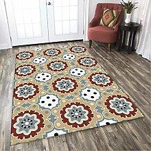 Modern Area Rug Designer Carpet Yellow, white, red