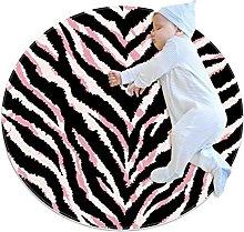 Modern Area Rug Pink Black Strips Bedroom Circle
