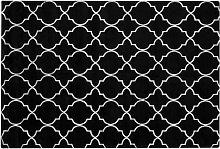 Modern Area Rug Viscose Silver Quatrefoil Pattern