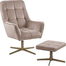 Modern Armchair and Footstool Set Beige Velvet