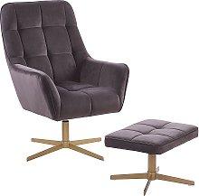 Modern Armchair and Footstool Set Taupe Velvet