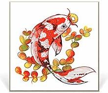 Modern Art Print Koi Fish Lotus Painting Canvas