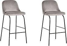 Modern Bar Chairs Set of 2 Padded Seat Velvet