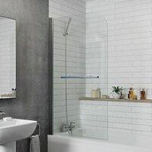 Modern Bathroom Bath Shower Screen Curved Chrome