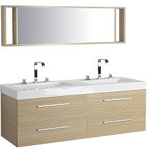 Modern Bathroom Vanity Set Light Wood Double Sink