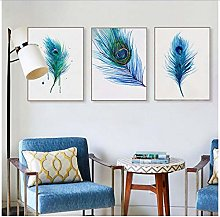 Modern Beautiful Blue Peacock Feather Poster