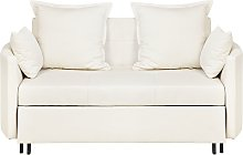 Modern Beige 2 Seater Sofa Bed Sleeping Function