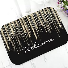 Modern Black Gold Drips Welcome Doormat Elegant